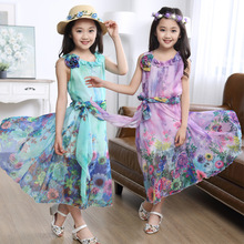 Child mother of women 2016 Kids Girls new summer floral dress children hanging skirts and the wind