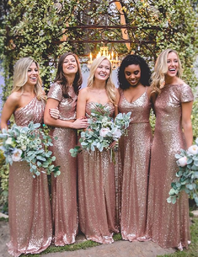 Vestido de festa rose gold sequin bridesmaid dresses long sexy vestido de festa rose gold sequin bridesmaid dresses long sexy bling floor length wedding party dresses plus size custom made in bridesmaid dresses from ombrellifo Gallery