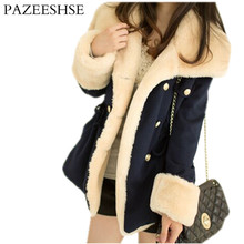 PAZEESHSE Coat Turn-down Collar Women's Coat Slim Patchwork Jacket Thick Warm Full Sleeve Female Coats Fashion Fur Collar Jacket