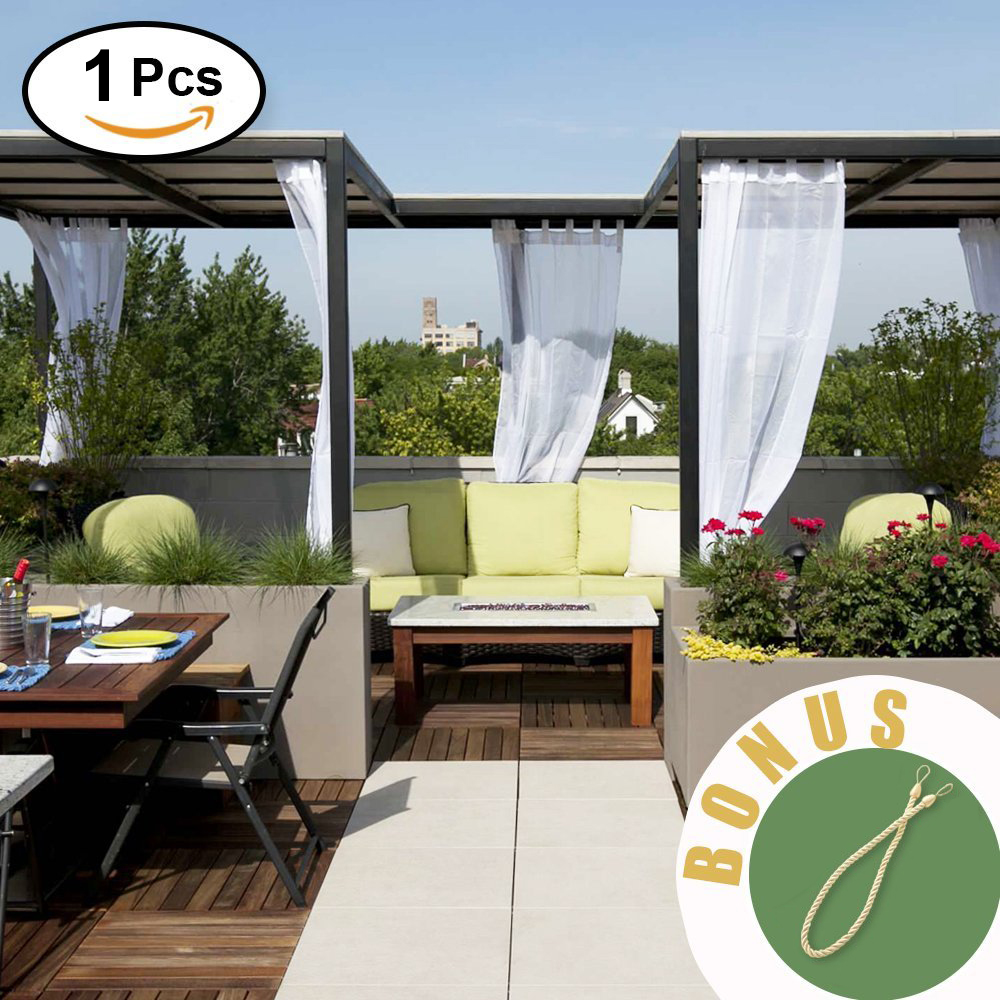 NICETOWN Outdoor Linen Look Drape Curtain With Rope Water Resistant Tab Top White Semi-Sheer Voile Drape For Beach Garden Gazebo