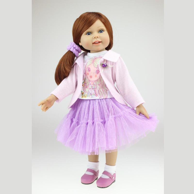 2015 New Hot Christmas Girl Toy Gift 45CM Vinyl Soft Lifelike Silicone American Girl Doll 18 Inch lifelike american 18 inches girl doll prices toy for children vinyl princess doll toys girl newest design
