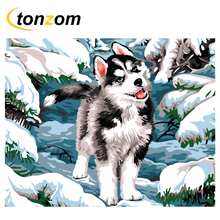 RIHE Snow Wolf Diy Painting By Numbers Animal Oil On Canvas Hand Painted Cuadros Decoracion Acrylic Paint Home Art