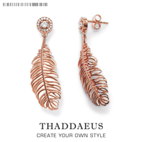 Drop Earring Feather Trendy Gift For Women Ts High Quality Earring Thomas Style Rose Gold Plated