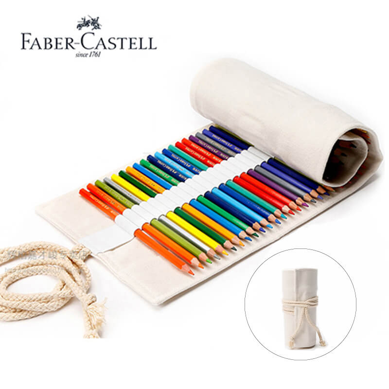 Faber Castell Colored Pencils Roll up Pouch 50/64/76 Hole Canvas Pen Bag Stationary Case Makeup Cosmetic Pencil box Art SuppliesFaber Castell Colored Pencils Roll up Pouch 50/64/76 Hole Canvas Pen Bag Stationary Case Makeup Cosmetic Pencil box Art Supplies