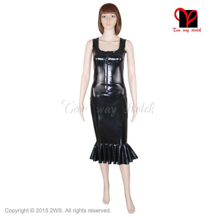 3fc490eaf6c8e 2 Piece Sets Sexy hobble latex skirt set Sleeveless Rubber vest zipper  front Top suit fishtail