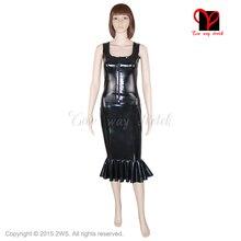 2 Piece Sets Sexy hobble latex skirt set Sleeveless Rubber vest zipper front Top suit fishtail Vest Tail Bodycon plus size XXXL
