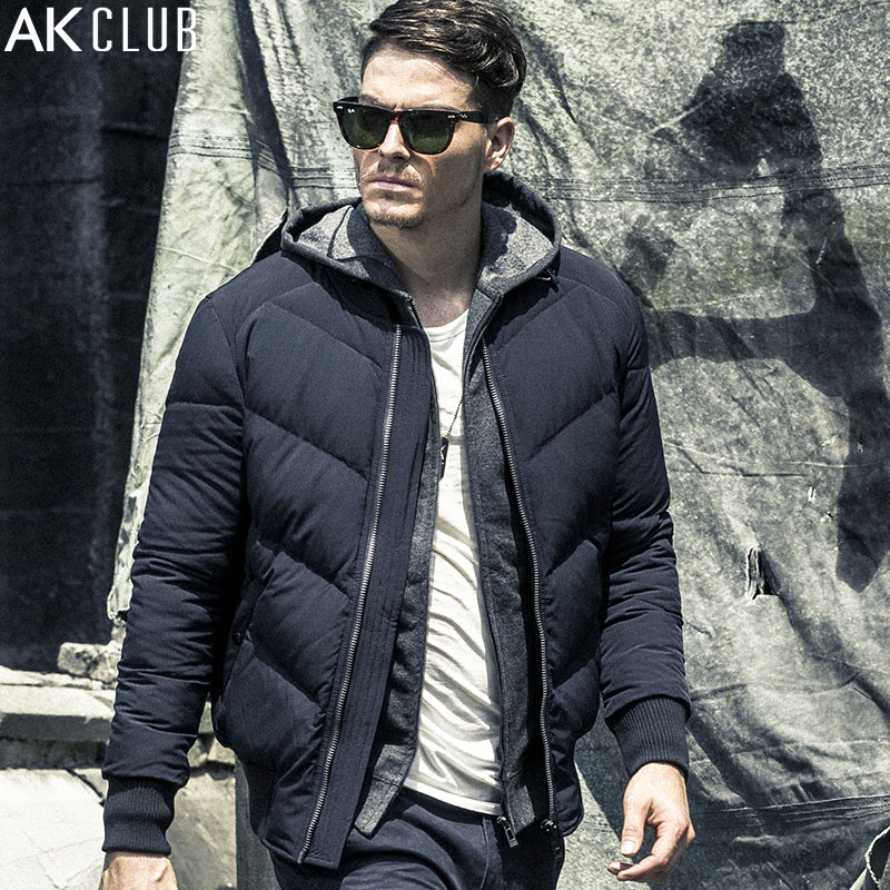AK CLUB Men Down Coat MA-1 Jacket Urban Function Series Padding Grey Duck Down Winter Outwear Brand Down Jacket Short 1611028