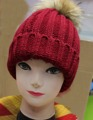 Spring autumn warm winter fashion knitted cap with fur  ball  freeshipping