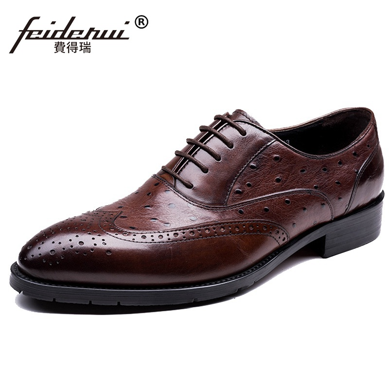 Top Quality Ostrich Grain Man Wing Tip Brogue Shoes Genuine Leather Party Oxfords Round Toe Men's Handmade Footwear Flats EI51 ruimosi high quality wing tip man dress