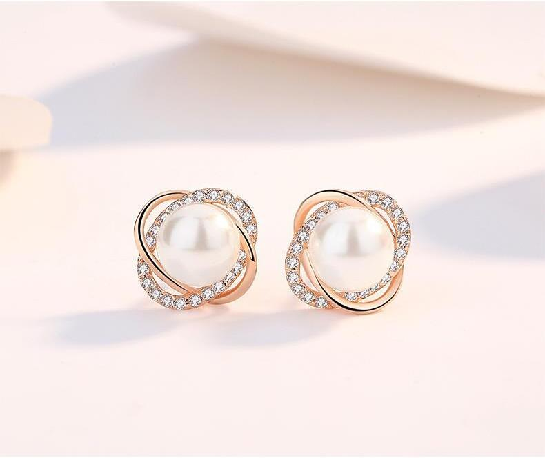 Us 1 85 Style Inlaid Multicolor Pearl Stud Earrings Jewelry Artificial Diamonds Of Fashionable Women In From