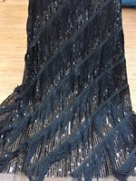 2018 High Quality Nigerian Lace Fabrics with sequin tassel African French sequin Lace Fabric Embroidered Tulle Mesh Lace Fabric