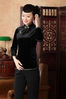 Black 2014 Summer Velour National Traditional Womens Tops Blouse Shirt Size S M L XL XXL