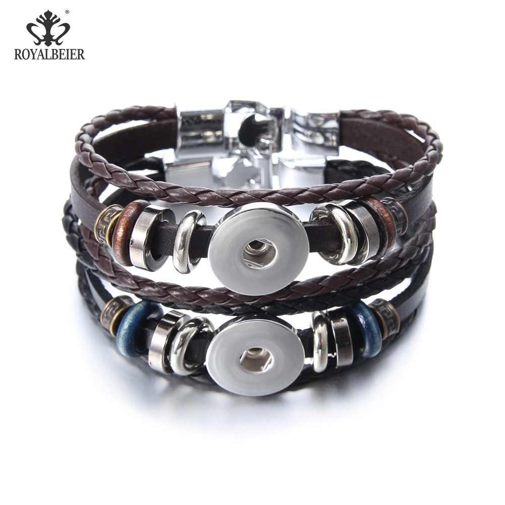 Royalbeier винтажные простые кожаные браслеты и браслеты 18 мм кнопки пуговицы «сделай сам» браслет для очарования женщин и мужчин ювелирные изделия Pulseras