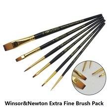 Pinceles profesionales de pintura WINSOR & NEWTON, pinceles para óleo y acrílico 4 unids/set o 6 unids/set