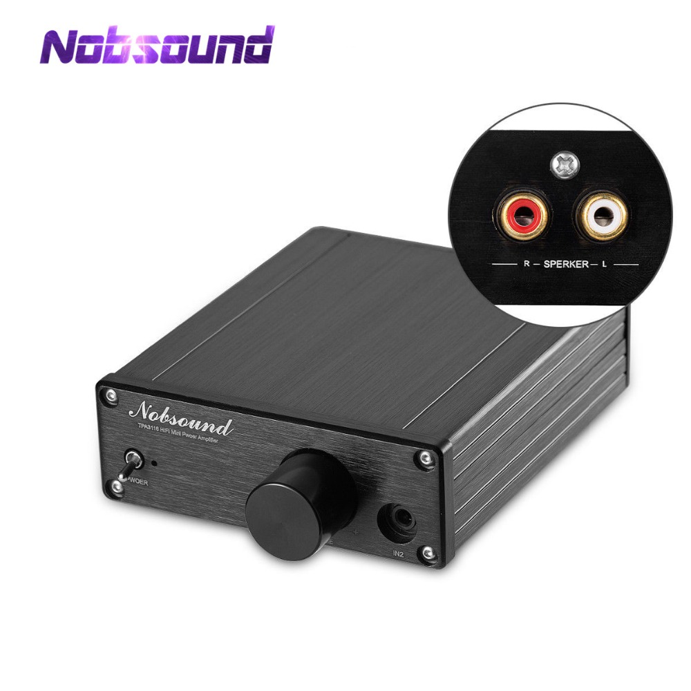 Nobsound Mini Digital Power Amplifier HiFi TPA3116 Amp Stereo L/R RCA Audio Output 50W*2