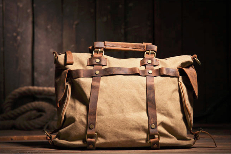 Vintage Military Canvas Leather Men Shoulder Bag Women Crossbody Bag Tote  Handbag Men Canvas Messenger Bag 715765206c69b