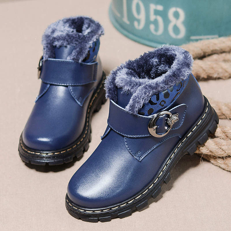 New Arrive 2018 Style Kid Boys Girls Winter Plus Cotton Shoes Children Thick Warm Boots Leather Shoes Hot Sell new winter children snow boots boys girls boots warm plush lining kids winter shoes