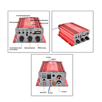 Draagbare Versterker Amp + Remote Speaker voor 2-channel 500 W Car Auto MOTO boot USB MP3 FM red