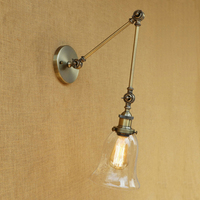 Vintage Loft wall lamp LED Industrial CLEAR GLASS lampshade free adjust long swing arms for bedroom restaurant bar E27 220v