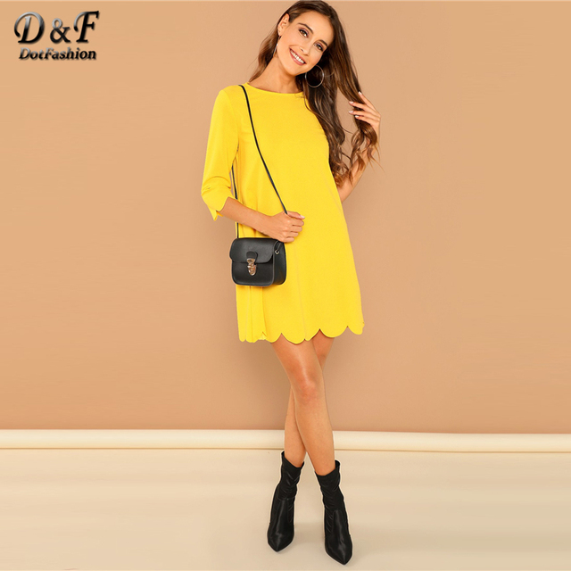 2693d193190 Dotfashion Yellow Scallop Edge Tunic Womens Dresses New Arrival 2019 Clothes  Autumn Casual Plain 3