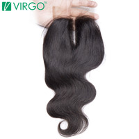 Virgo Middle Part Body Wave Lace Closure 4x4 Medium Brown Swiss Lace Base With Baby Hair 100% Remy Human Hair Free Shipping
