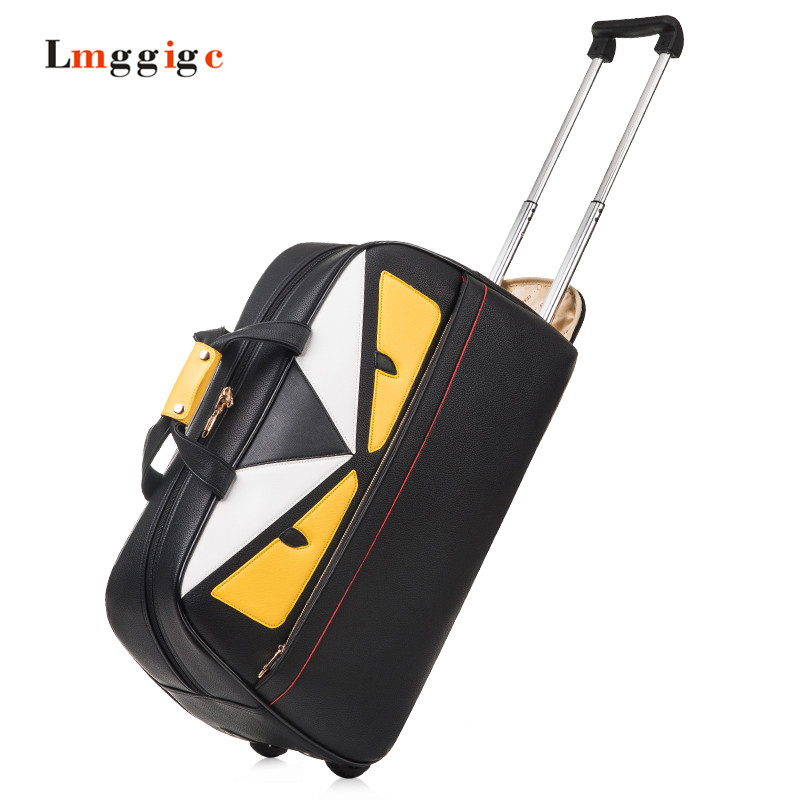 Little Monsters Travel Bag,PU leather Carry-on,Large Capacity Trolley Carrier,Personality portable Luggage,waterproof Suitcase large capacity suitcase explosion proof travel transport portable safety box storage case bag for dji spark accessories pgytech