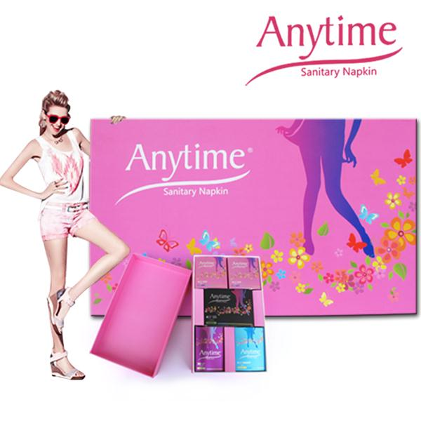 Anytime International Brand Gift Box Women Feminine Hygiene Anion Cotton Bamboo Medicated Menstrual Lady Sanitary Pad 60 packs 600 pcs anytime brand soft care feminine cotton anion active oxygen and negative ion sanitary napkin for women bsn60