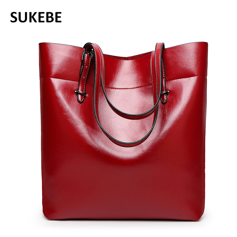 New Fashion Casual Women Shoulder Bags Big Leather Oil Waxing Women Bag High Quality Leather Handbag
