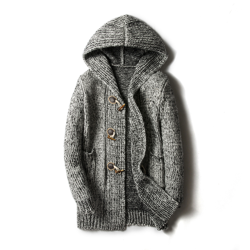 Sweater Men Cardigan Long Camisa Masculina Mens Slim Fit Hooded Knit Sweater Fashion Cardigan Long Trench Coat Knitted Jacke