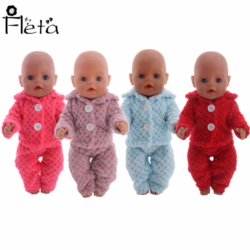 Doll Pajamas Plush 2 Pcs=Clothes+pants 4 Colors Fit 18 Inch American Doll&43Cm Born Baby,Generation,Birthday Girl's Toy Gift