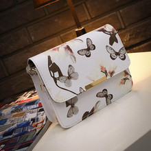 2017 Women Handbag Luxury Brand Design Small Satchel bag Flower Butterfly Printed PU Leather Shoulder Bag Retro Crossbody Bag