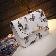 2017 Bolso de Las Mujeres Marca de Lujo de Diseño Pequeño bolso de la Flor de Mariposa Impreso PU Bolso de Cuero Retro Crossbody Bolsa