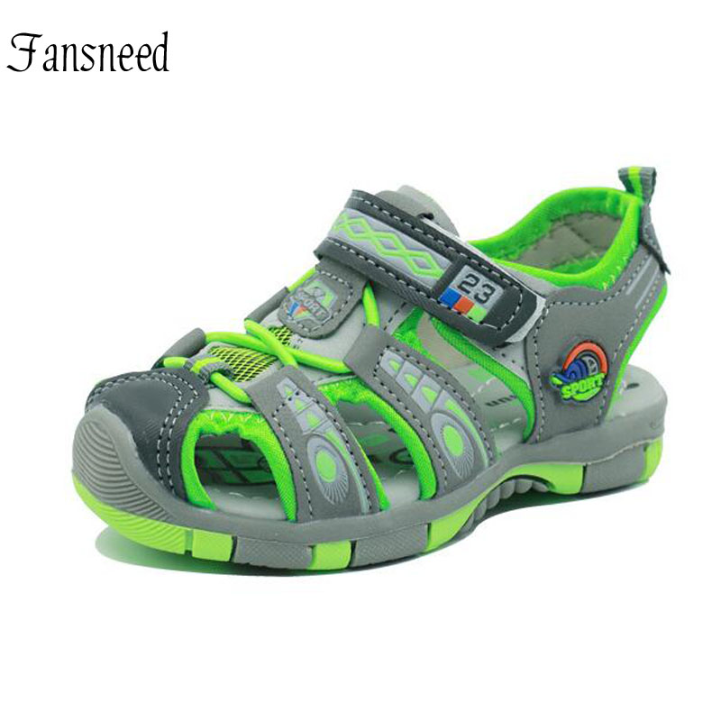 Boys Sandals Children Summer Non-slip Toddler Shoes American Anti Kick Beach Sandals Size 20 To Size 31