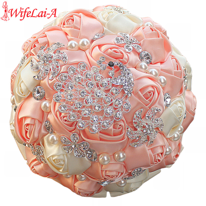 WifeLai-A 1 unidades Gorgeous Diamond Peacock Cream Pink Silk Wedding Bouquet Nupcial flores artificiales Wedding Bouquet 4 tamaño W231