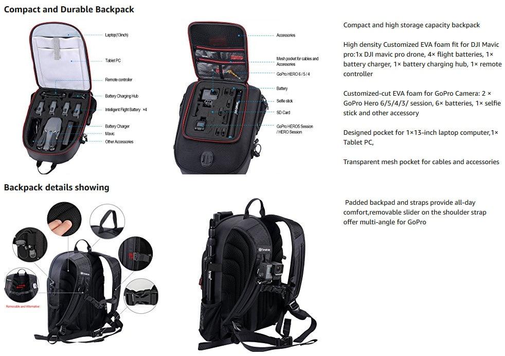 Smatree Hard Case Water-resistant Backpack for DJI Mavic Pro/GoPro Hero Session/ Hero 6/ 5/ 4/ 3/ 2/ 1/Tablet PC