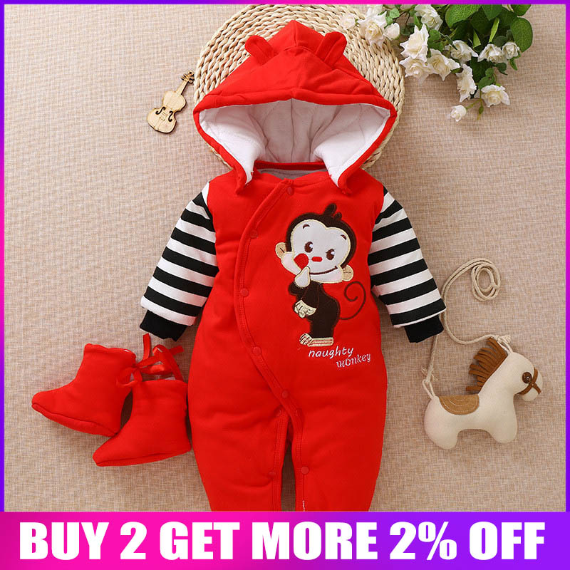 BibiCola Infant Baby Warm   Rompers   Clothes Newborn Baby Winter Thicken Long Sleeve Jumpsuit Bebe Cartoon Overalls Baby onesie