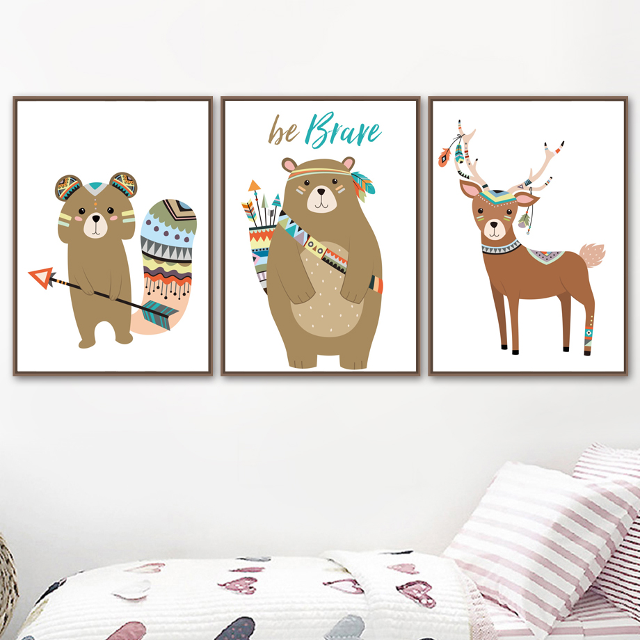 Bear Fox Deer Owl Quotes Be Brave Wall Art Canvas Painting Nordic Posters And Prints Wall Pictures Baby Kids Room Nursery Decor in Painting Calligraphy from Home Garden