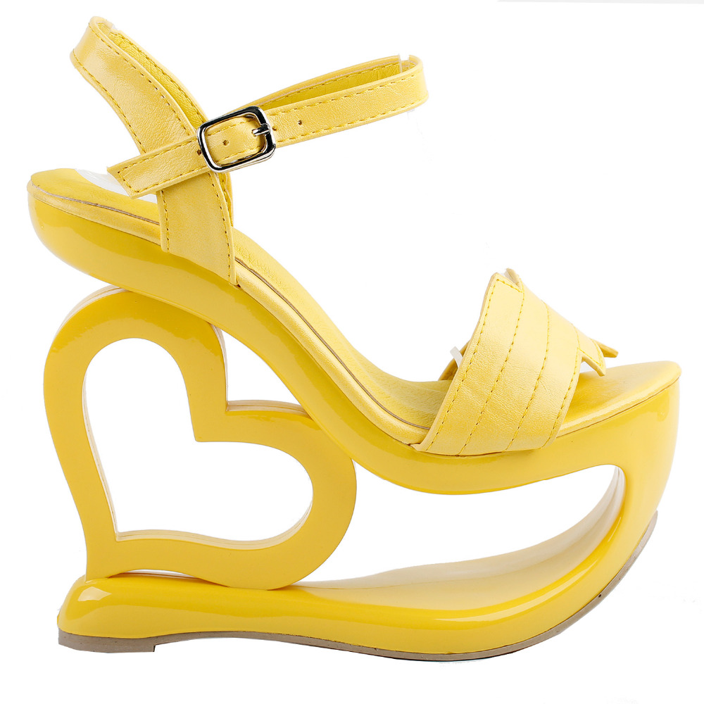LF40210 Yellow Strappy Heart Heel Wedge Bridesmaid Wedding Sandals Size 4/5/6/7/8/9/10 lf40203 sexy white pink blue strappy heart heel wedge wedding sandals sz 4 5 6 7 8 9 10