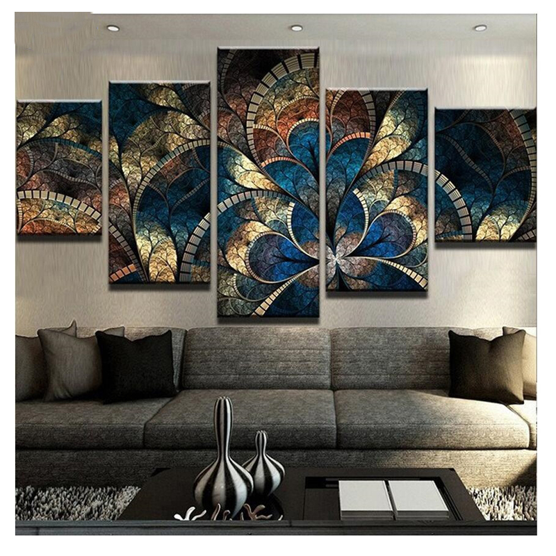 diy diamond painting 5 Panel Fantasy Flowers For Living Room Home Decor 5d Diamond Embroidery Abstract