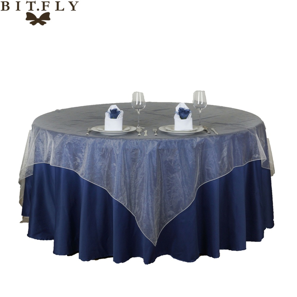 135x135cm Party Table Cloth Sheer Organza Tablecloth for Weddings Valentine's Day Hotel Restaurant Table Overlays