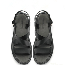 US-6-10 Men's Genuine Leather Casual Flat Thongs Roman Flip Flop Gladiator Summer Sandals Outdoor Beach Shoes