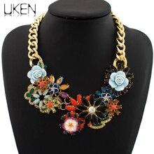 UKEN Big Brand Vintage Gold Color Exaggerated Luxury Crystal Resins Flower Collar Choker Necklace Statement JC
