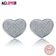 Женские серьги гвоздики aglover с сердечками из серебра 925