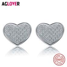 AGLOVER Romantic Hearts of Love Stud Earrings for Women 925 Sterling Silver Clear CZ Earring Jewelry