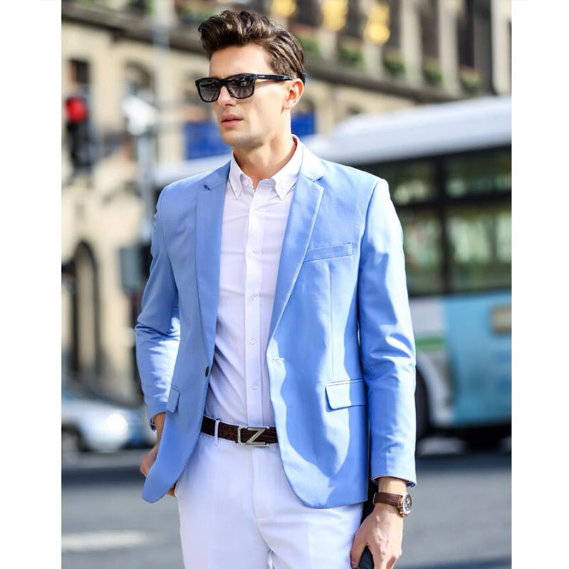 2017 Spring New Style Young Mens Light Blue Suits For Daily Work Wear Tailored Fashion 2 Pieces Men Blazer suit With White Pants