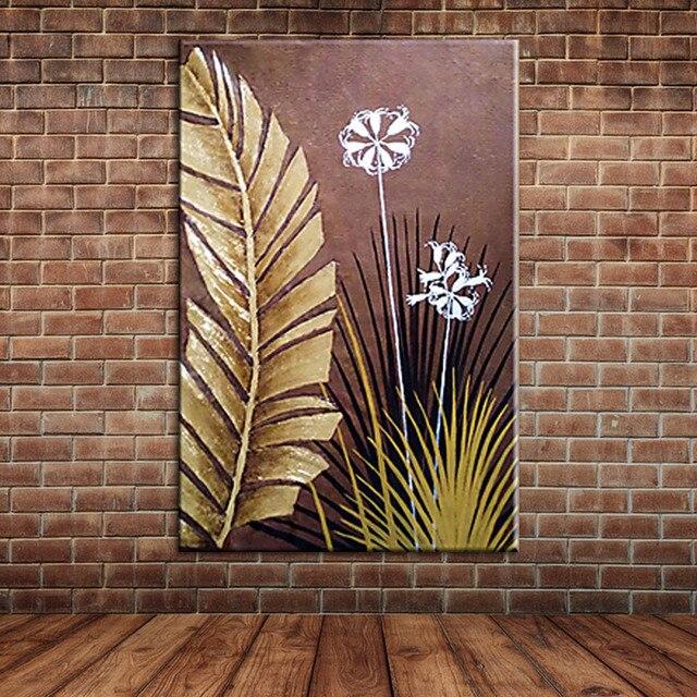 Modern Large Wall Art Landscape Golden Foil Palm leaves Oil Painting ...