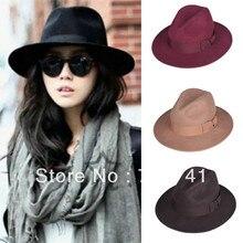 Чистый шерстяной унисекс осень/зима Fadoras шляпа с широкими полями для женщин и мужчин