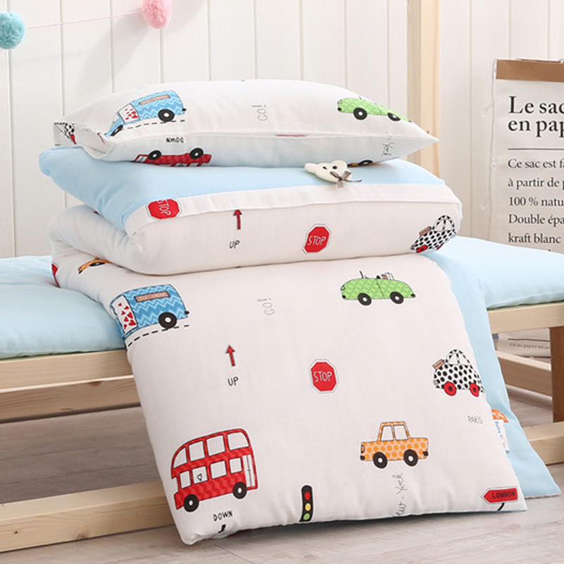 double gauze three-piece baby bedding made of pure cotton quilt cover kindergarten children cartoon bed tick summer