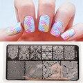 BP-L027 llusionTheme Placas de Estampación Nail Art Sello Placa de la Imagen Plantilla Rctangular NACIDO PRETTY 12x6 cm