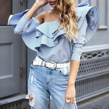 One Shoulder Flounce Trim Striped Blouse Women Summer Casual Blue Shirts Long Sleeve Cool Blouse Ruffles Tops Blusas Femininas tiered flounce trim tee